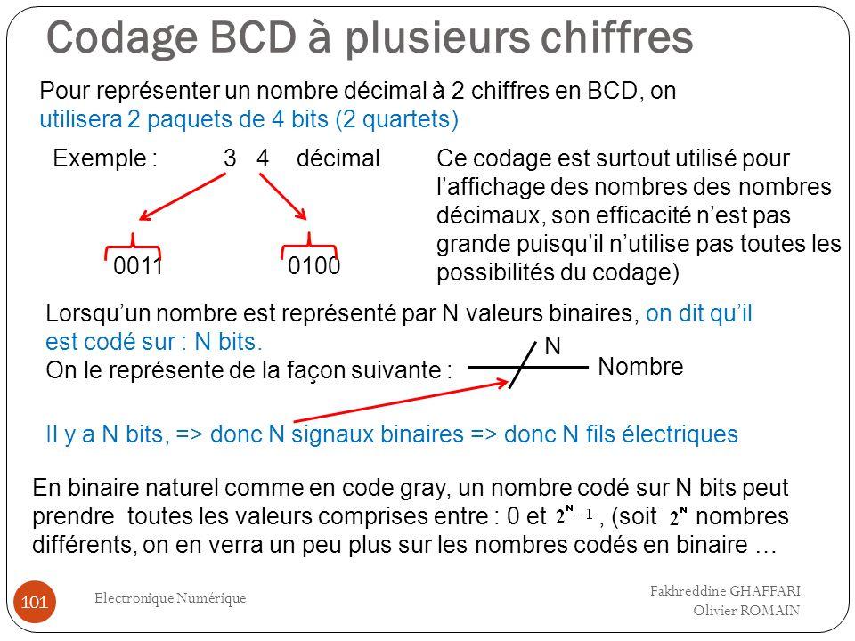 Codage BCD à plusieurs chiffres Electronique Numérique 101 Pour représenter un nombre décimal à 2 chiffres en BCD, on utilisera 2 paquets de 4 bits (2