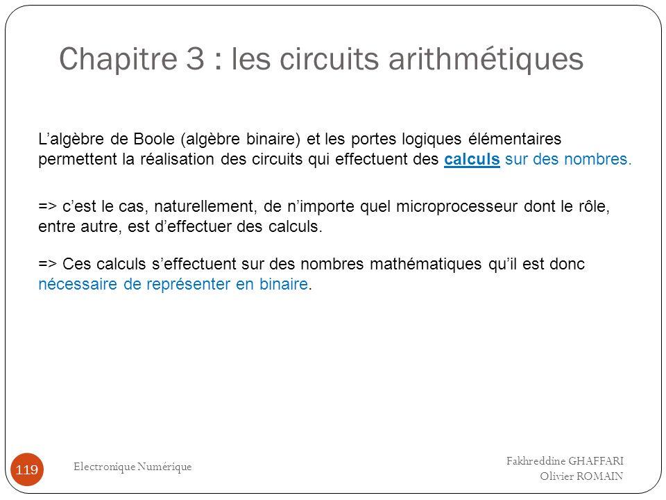 Chapitre 3 : les circuits arithmétiques Electronique Numérique 119 Lalgèbre de Boole (algèbre binaire) et les portes logiques élémentaires permettent