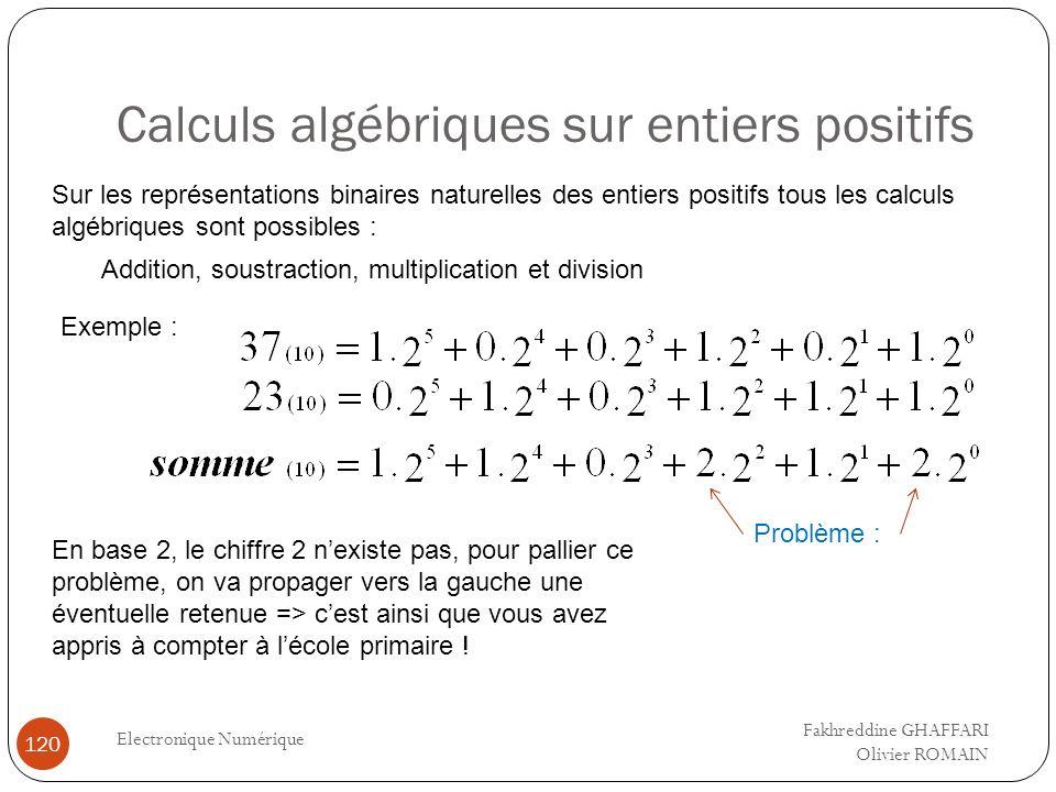 Calculs algébriques sur entiers positifs Electronique Numérique 120 Sur les représentations binaires naturelles des entiers positifs tous les calculs