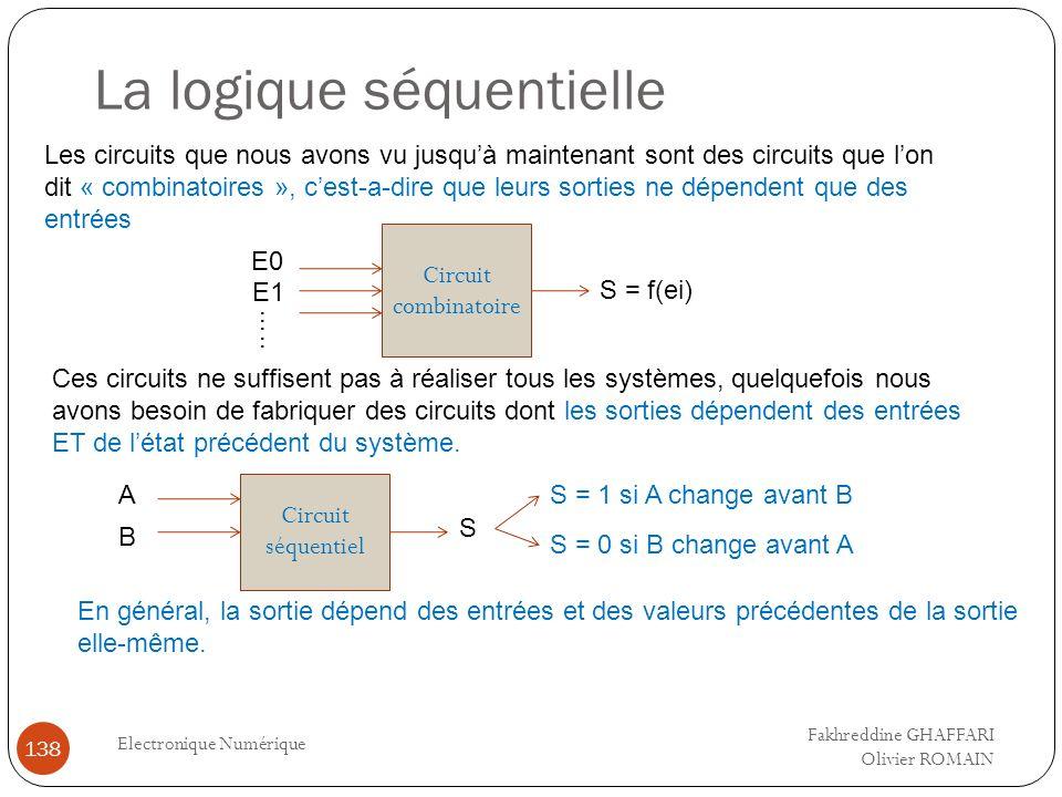 La logique séquentielle Electronique Numérique 138 Les circuits que nous avons vu jusquà maintenant sont des circuits que lon dit « combinatoires », c