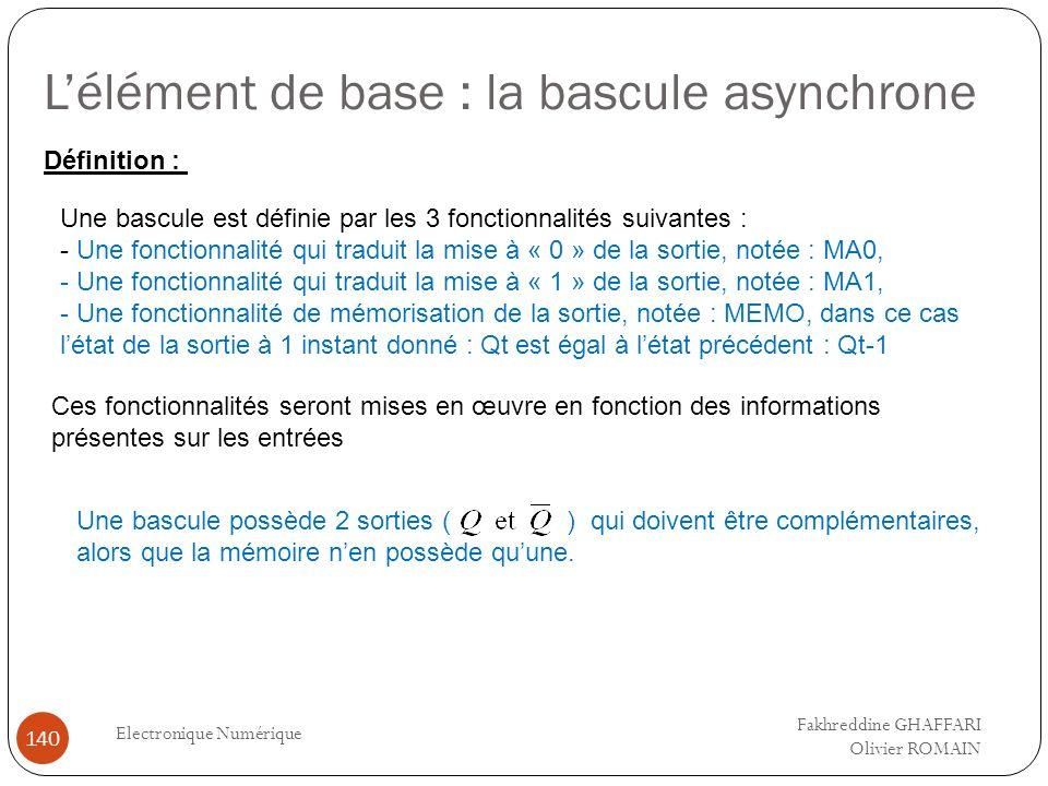 Lélément de base : la bascule asynchrone Electronique Numérique 140 Définition : Une bascule est définie par les 3 fonctionnalités suivantes : - Une f