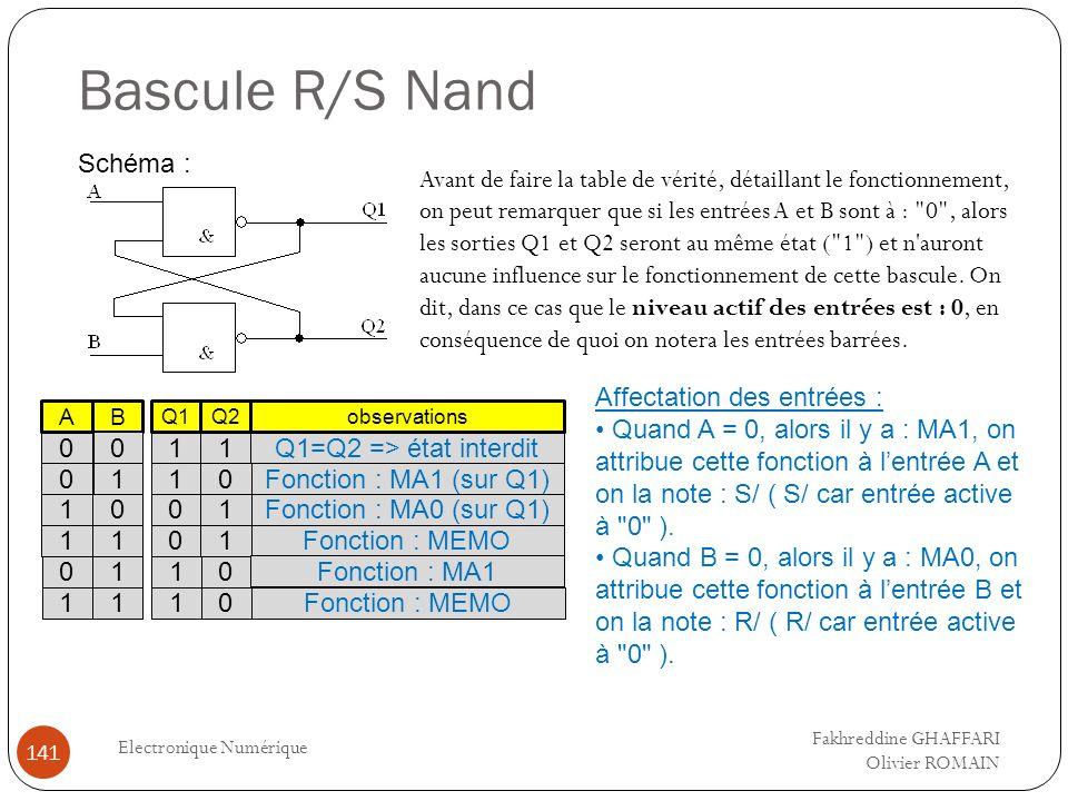 Bascule R/S Nand Electronique Numérique 141 Schéma : Avant de faire la table de vérité, détaillant le fonctionnement, on peut remarquer que si les ent