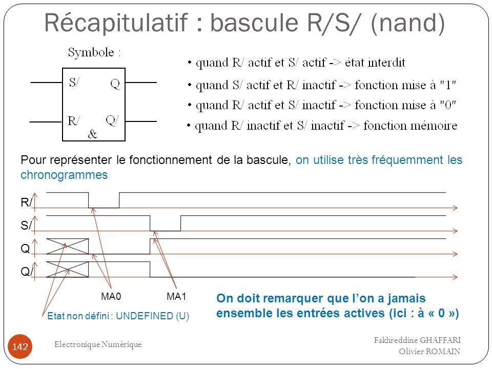 Récapitulatif : bascule R/S/ (nand) Electronique Numérique 142 Pour représenter le fonctionnement de la bascule, on utilise très fréquemment les chron