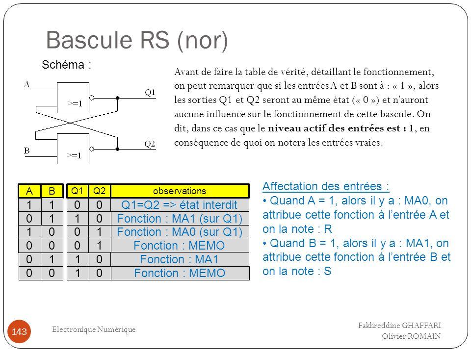 Bascule RS (nor) Electronique Numérique 143 Schéma : Avant de faire la table de vérité, détaillant le fonctionnement, on peut remarquer que si les ent