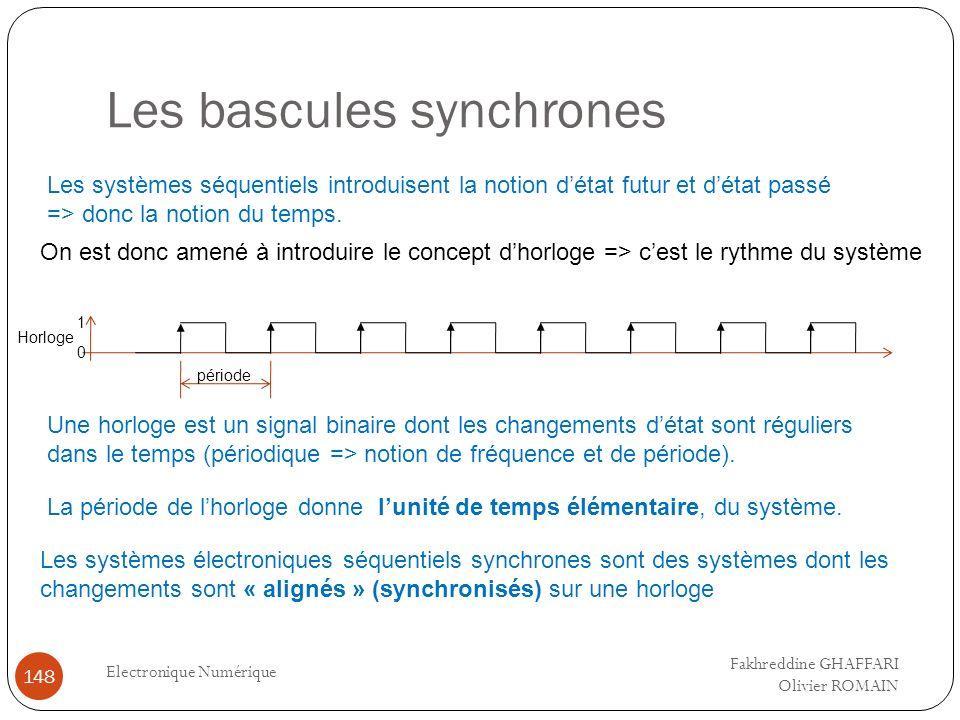Les bascules synchrones Electronique Numérique 148 Les systèmes séquentiels introduisent la notion détat futur et détat passé => donc la notion du tem