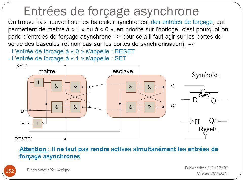 Entrées de forçage asynchrone Electronique Numérique 152 On trouve très souvent sur les bascules synchrones, des entrées de forçage, qui permettent de