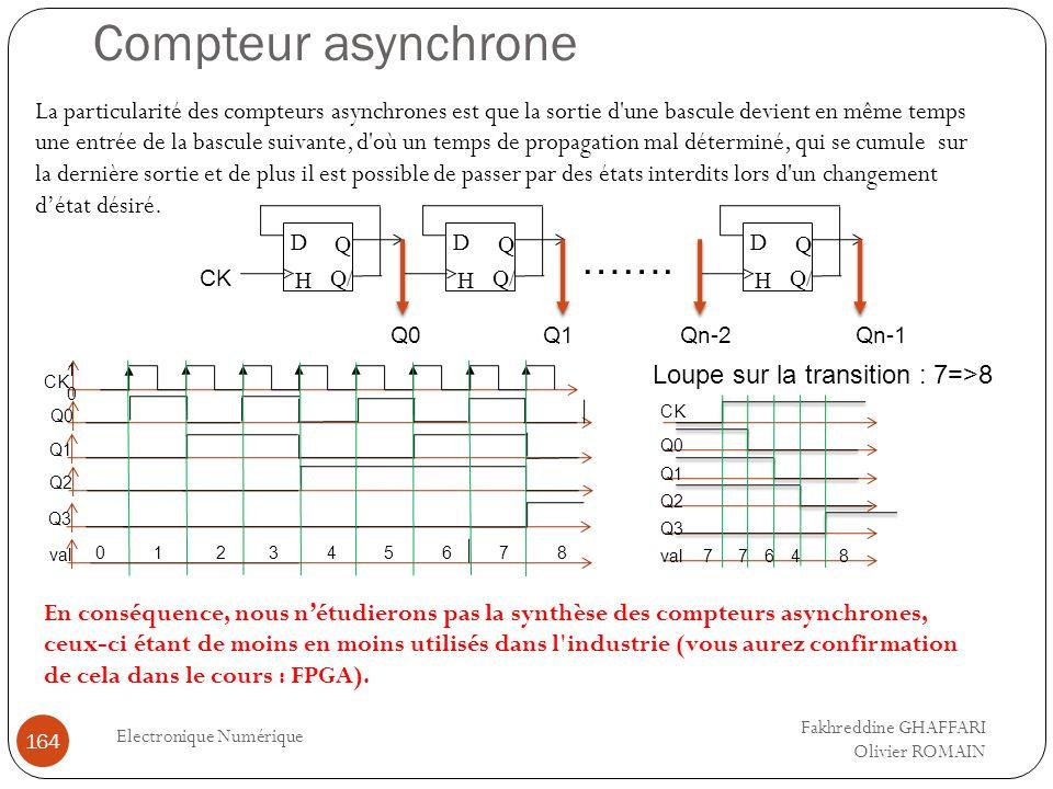 Compteur asynchrone Electronique Numérique 164 La particularité des compteurs asynchrones est que la sortie d'une bascule devient en même temps une en