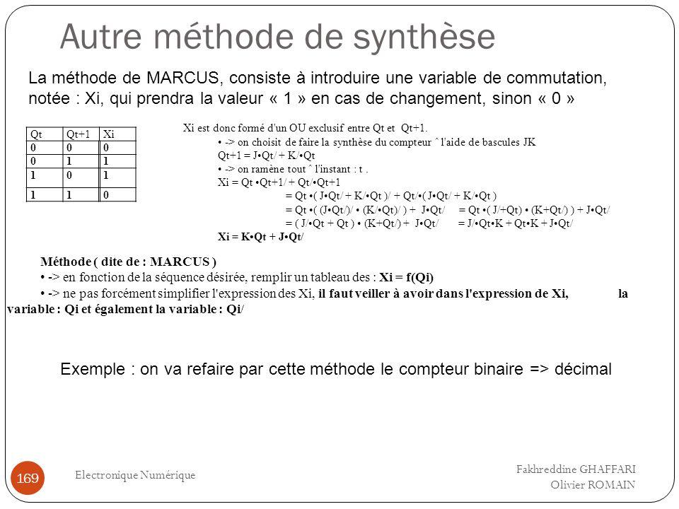 Autre méthode de synthèse Electronique Numérique 169 La méthode de MARCUS, consiste à introduire une variable de commutation, notée : Xi, qui prendra