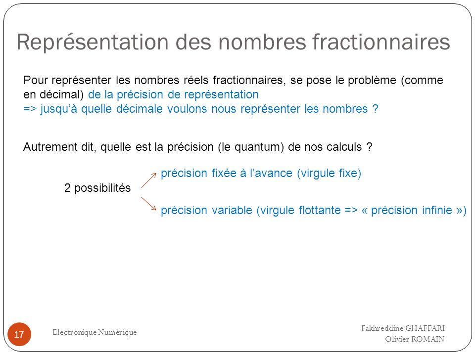 Représentation des nombres fractionnaires Electronique Numérique 17 Pour représenter les nombres réels fractionnaires, se pose le problème (comme en d