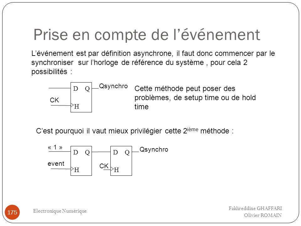 Prise en compte de lévénement Electronique Numérique 175 Lévénement est par définition asynchrone, il faut donc commencer par le synchroniser sur lhor