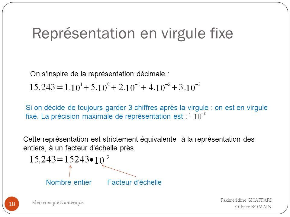 Représentation en virgule fixe Electronique Numérique 18 On sinspire de la représentation décimale : Si on décide de toujours garder 3 chiffres après