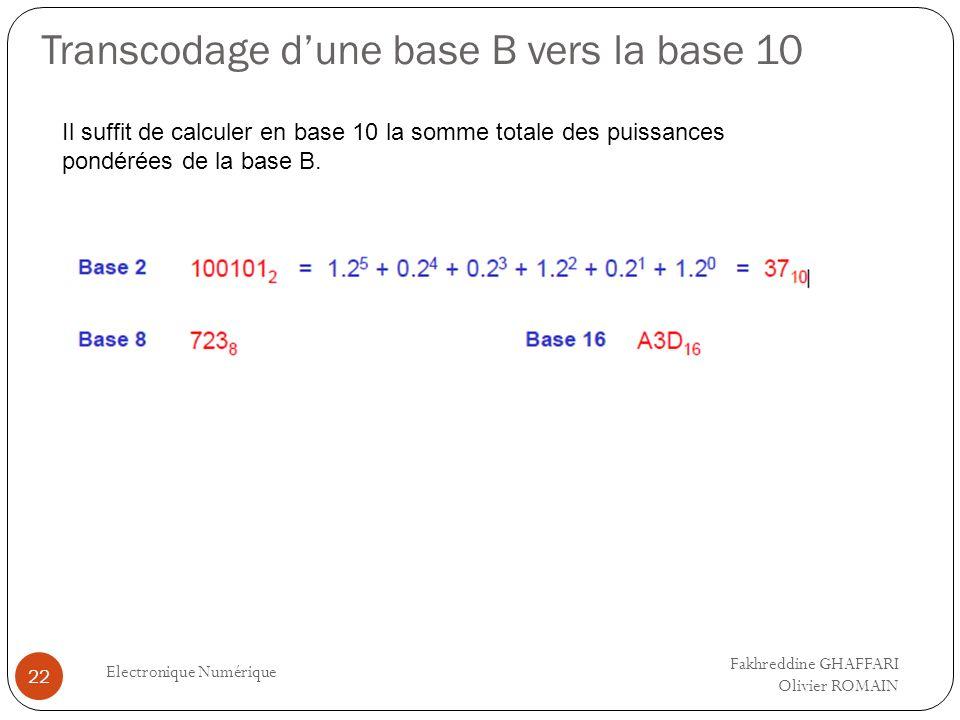 Transcodage dune base B vers la base 10 Electronique Numérique 22 Il suffit de calculer en base 10 la somme totale des puissances pondérées de la base