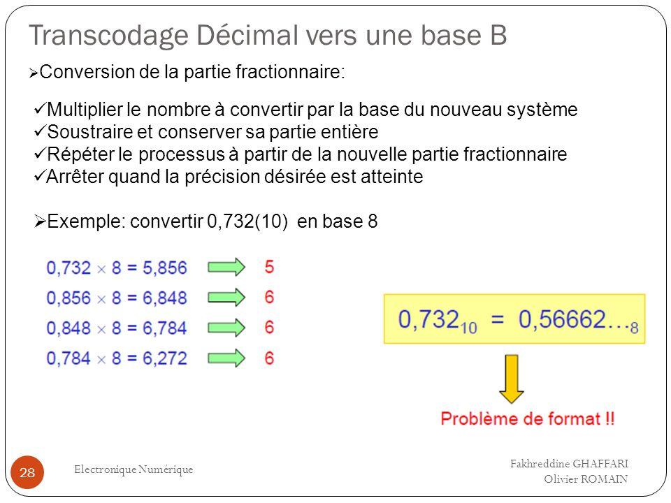 Transcodage Décimal vers une base B Electronique Numérique 28 Fakhreddine GHAFFARI Olivier ROMAIN Conversion de la partie fractionnaire: Multiplier le