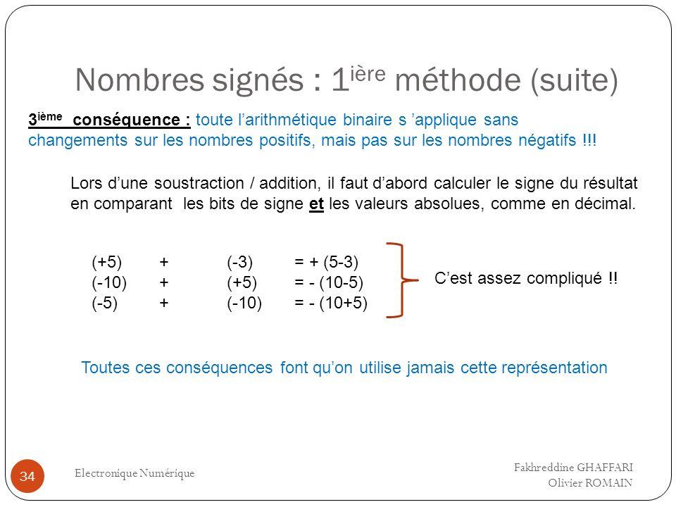 Nombres signés : 1 ière méthode (suite) Electronique Numérique 34 3 ième conséquence : toute larithmétique binaire s applique sans changements sur les