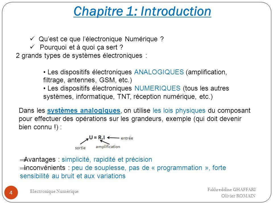 Chapitre 1: Introduction Electronique Numérique 4 Quest ce que lélectronique Numérique ? Pourquoi et à quoi ça sert ? 2 grands types de systèmes élect