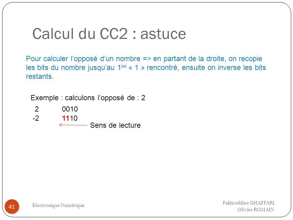 Calcul du CC2 : astuce Electronique Numérique 41 Pour calculer lopposé dun nombre => en partant de la droite, on recopie les bits du nombre jusquau 1