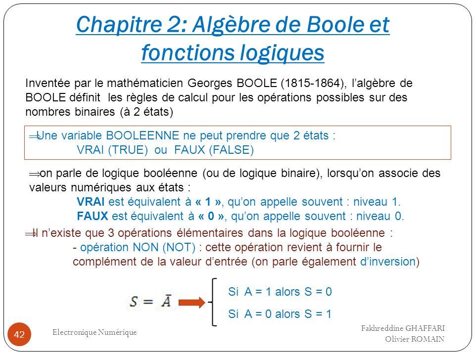 Electronique Numérique 42 Inventée par le mathématicien Georges BOOLE (1815-1864), lalgèbre de BOOLE définit les règles de calcul pour les opérations