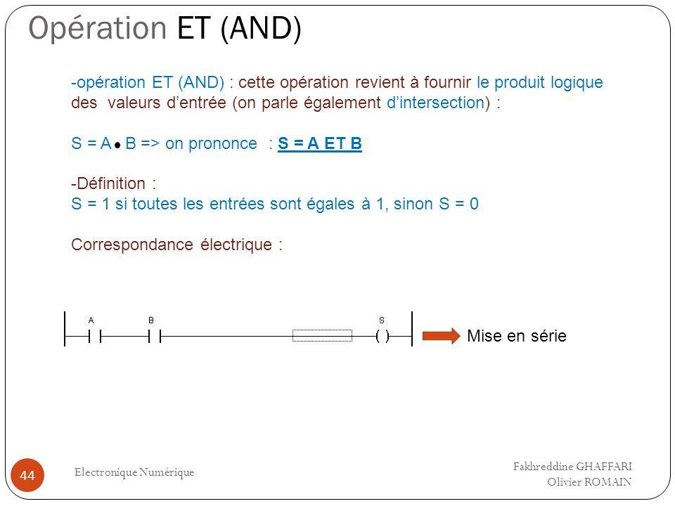 Opération ET (AND) Electronique Numérique 44 Mise en série -opération ET (AND) : cette opération revient à fournir le produit logique des valeurs dent