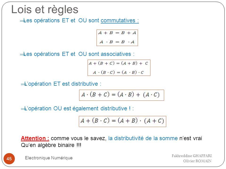 Lois et règles Electronique Numérique 45 Les opérations ET et OU sont commutatives : Les opérations ET et OU sont associatives : Lopération ET est dis