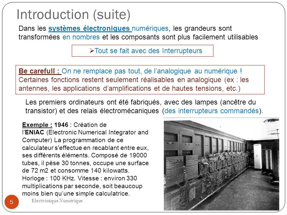 Introduction (suite) Fakhreddine GHAFFARI Philippe GUERINEAU Electronique Numérique 5 Dans les systèmes électroniques numériques, les grandeurs sont t
