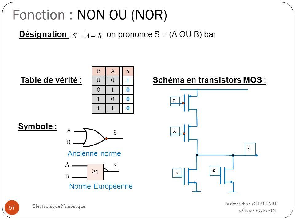 Fonction : NON OU (NOR) Electronique Numérique 57 Table de vérité : Désignation : on prononce S = (A OU B) bar Symbole : A S Ancienne norme Schéma en