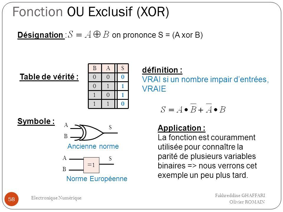 Fonction OU Exclusif (XOR) Electronique Numérique 58 Table de vérité : Symbole : A S Ancienne norme =1 S Norme Européenne AS 0 1 0 1 B 0 0 0 1 1 0 1 1