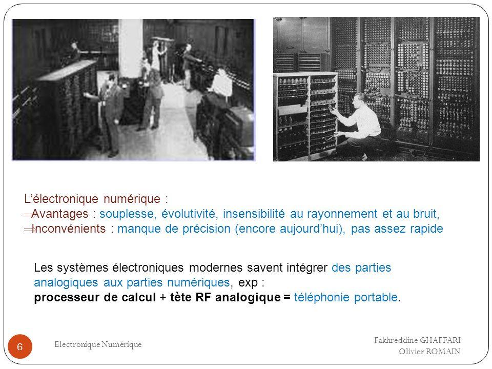 Electronique Numérique 6 Lélectronique numérique : Avantages : souplesse, évolutivité, insensibilité au rayonnement et au bruit, Inconvénients : manqu