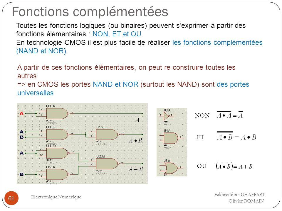 Fonctions complémentées Electronique Numérique 61 Toutes les fonctions logiques (ou binaires) peuvent sexprimer à partir des fonctions élémentaires :