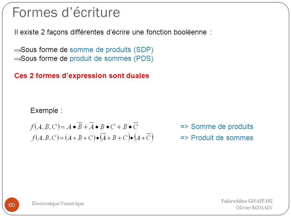 Formes décriture Electronique Numérique 65 Il existe 2 façons différentes décrire une fonction booléenne : Sous forme de somme de produits (SDP) Sous