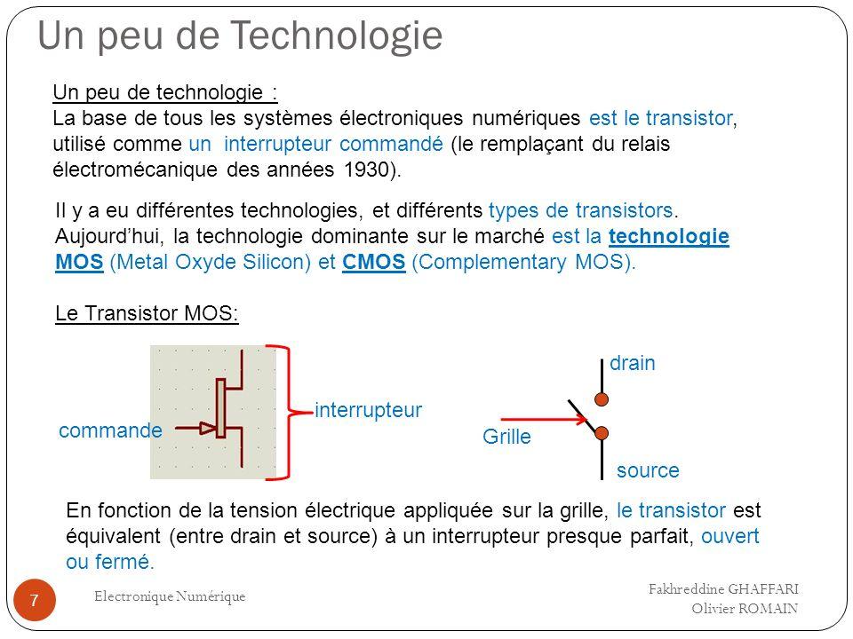 Récapitulatif Electronique Numérique 8 => Un dispositif électronique numérique est constitué uniquement de transistors (les transistors complémentaires CMOS), qui sont utilisés comme des interrupteurs (entre source et drain) commandés par la tension appliquée sur la grille.