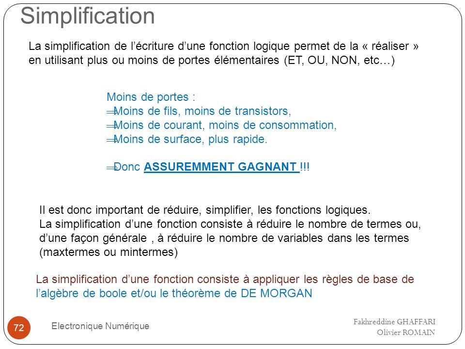 Simplification Electronique Numérique 72 La simplification de lécriture dune fonction logique permet de la « réaliser » en utilisant plus ou moins de