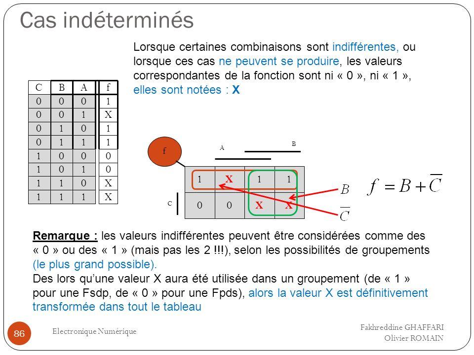 Cas indéterminés Electronique Numérique 86 Lorsque certaines combinaisons sont indifférentes, ou lorsque ces cas ne peuvent se produire, les valeurs c
