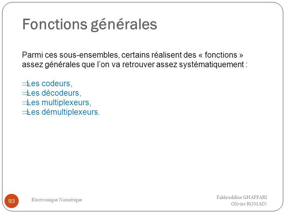 Fonctions générales Electronique Numérique 93 Parmi ces sous-ensembles, certains réalisent des « fonctions » assez générales que lon va retrouver asse