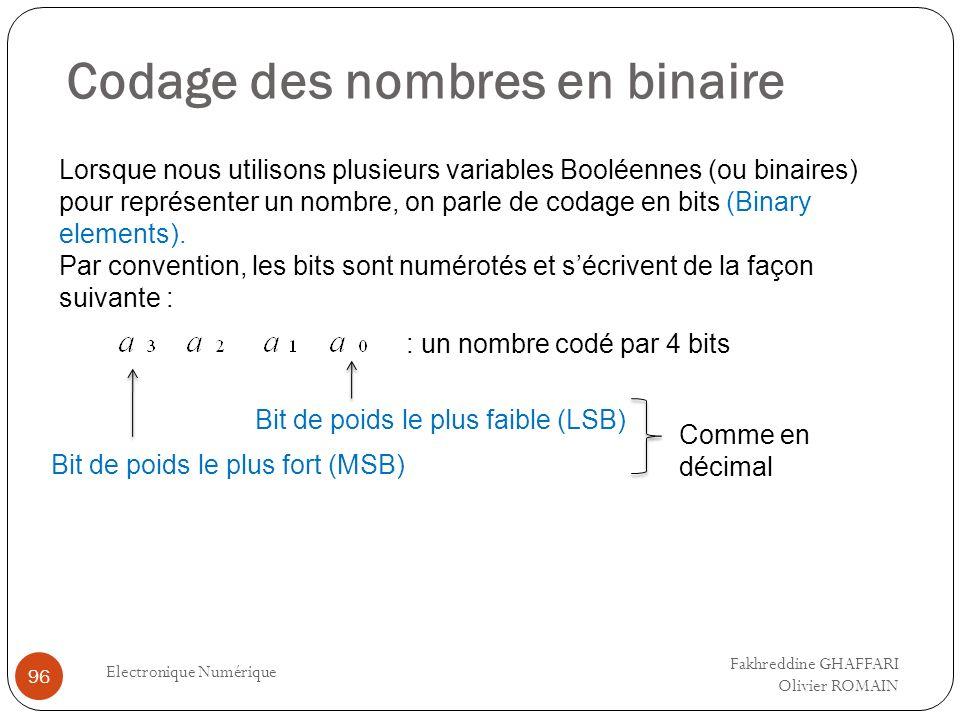 Codage des nombres en binaire Electronique Numérique 96 Lorsque nous utilisons plusieurs variables Booléennes (ou binaires) pour représenter un nombre