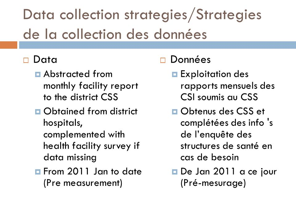 Data collection strategies/Strategies de la collection des données Data Abstracted from monthly facility report to the district CSS Obtained from dist