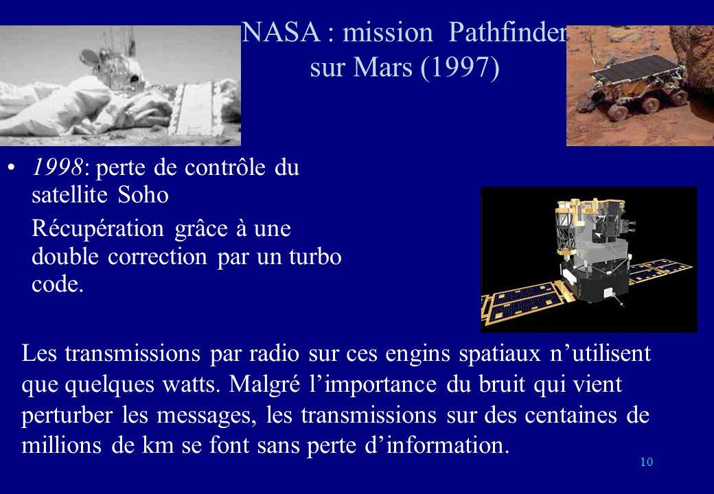 10 1998: perte de contrôle du satellite Soho Récupération grâce à une double correction par un turbo code. Les transmissions par radio sur ces engins