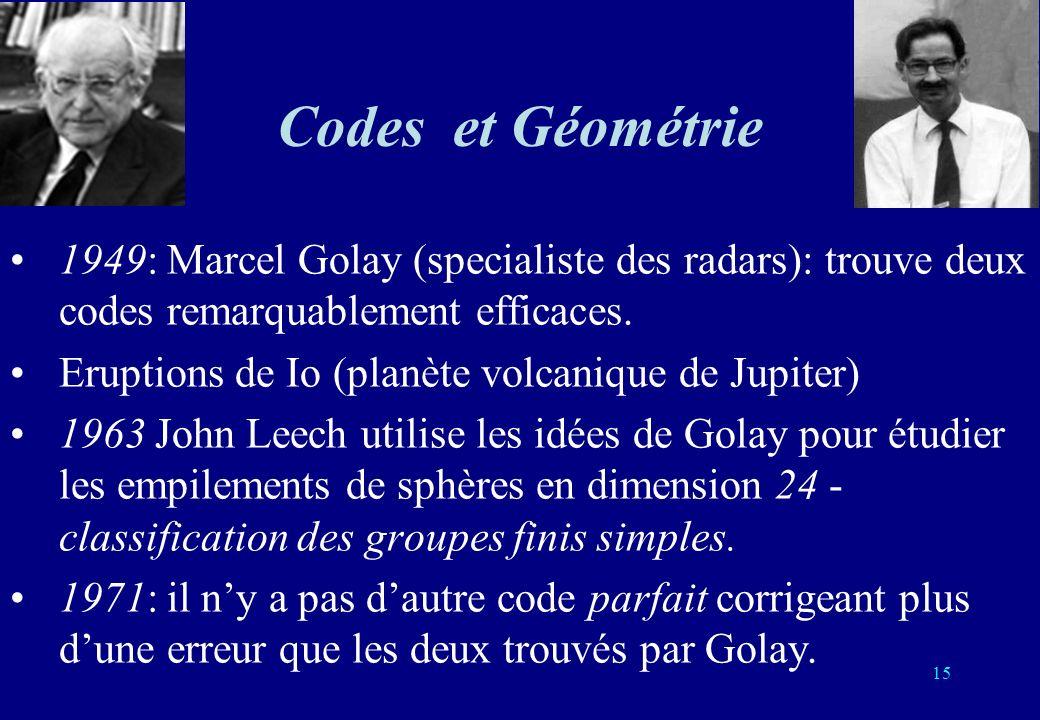 15 Codes et Géométrie 1949: Marcel Golay (specialiste des radars): trouve deux codes remarquablement efficaces. Eruptions de Io (planète volcanique de