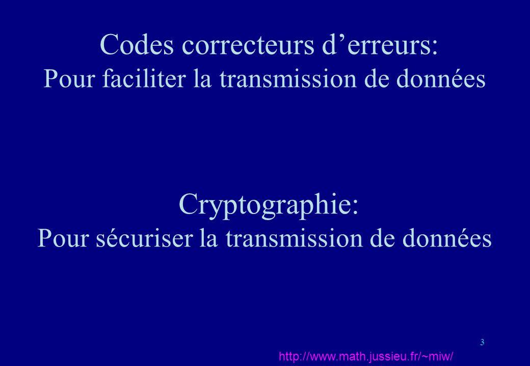 3 Codes correcteurs derreurs: Pour faciliter la transmission de données http://www.math.jussieu.fr/~miw/ Cryptographie: Pour sécuriser la transmission
