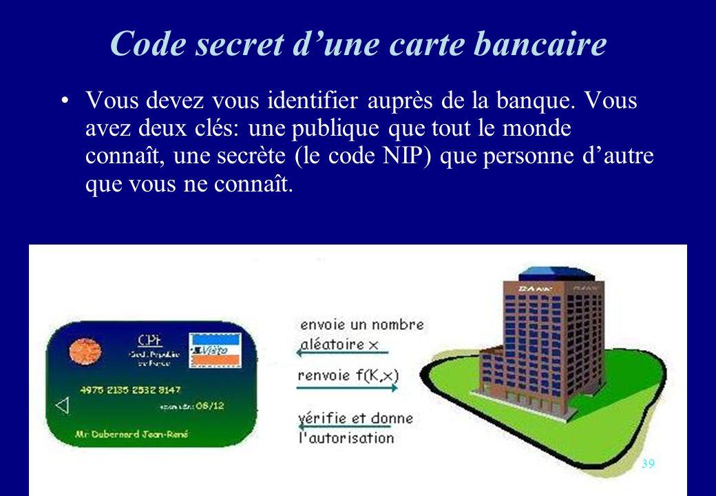 Code secret dune carte bancaire Vous devez vous identifier auprès de la banque. Vous avez deux clés: une publique que tout le monde connaît, une secrè