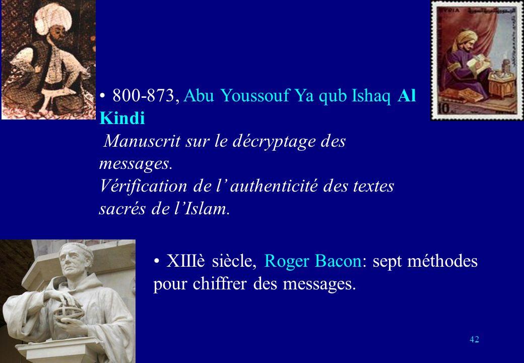 800-873, Abu Youssouf Ya qub Ishaq Al Kindi Manuscrit sur le décryptage des messages. Vérification de l authenticité des textes sacrés de lIslam. XIII