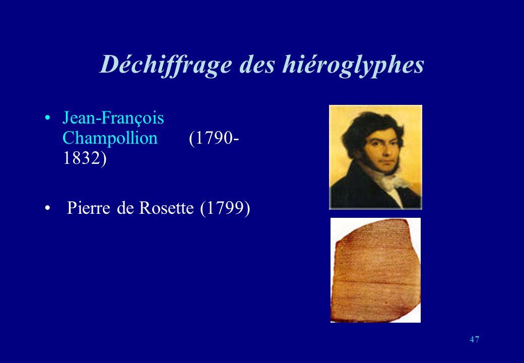 Déchiffrage des hiéroglyphes Jean-François Champollion (1790- 1832) Pierre de Rosette (1799) 47