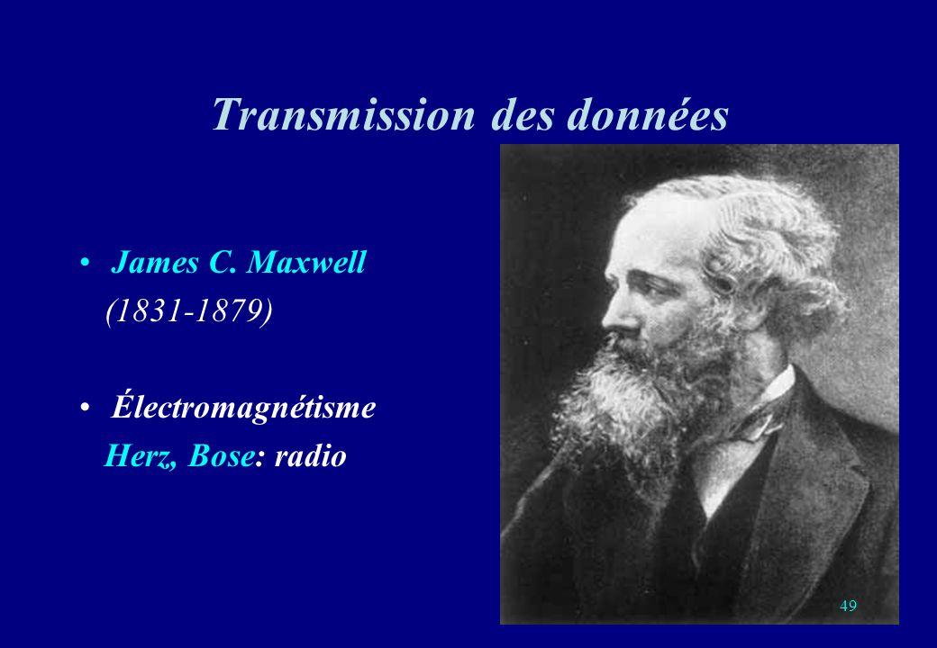 Transmission des données James C. Maxwell (1831-1879) Électromagnétisme Herz, Bose: radio 49