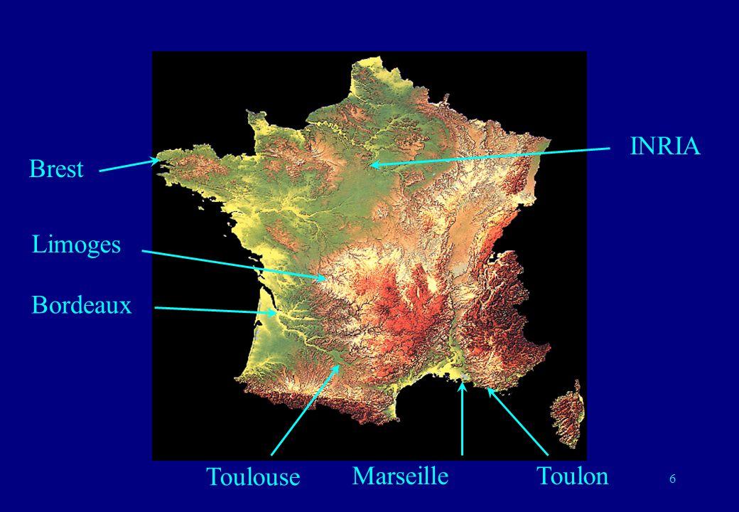 6 Brest Bordeaux Marseille Toulouse Limoges INRIA Toulon