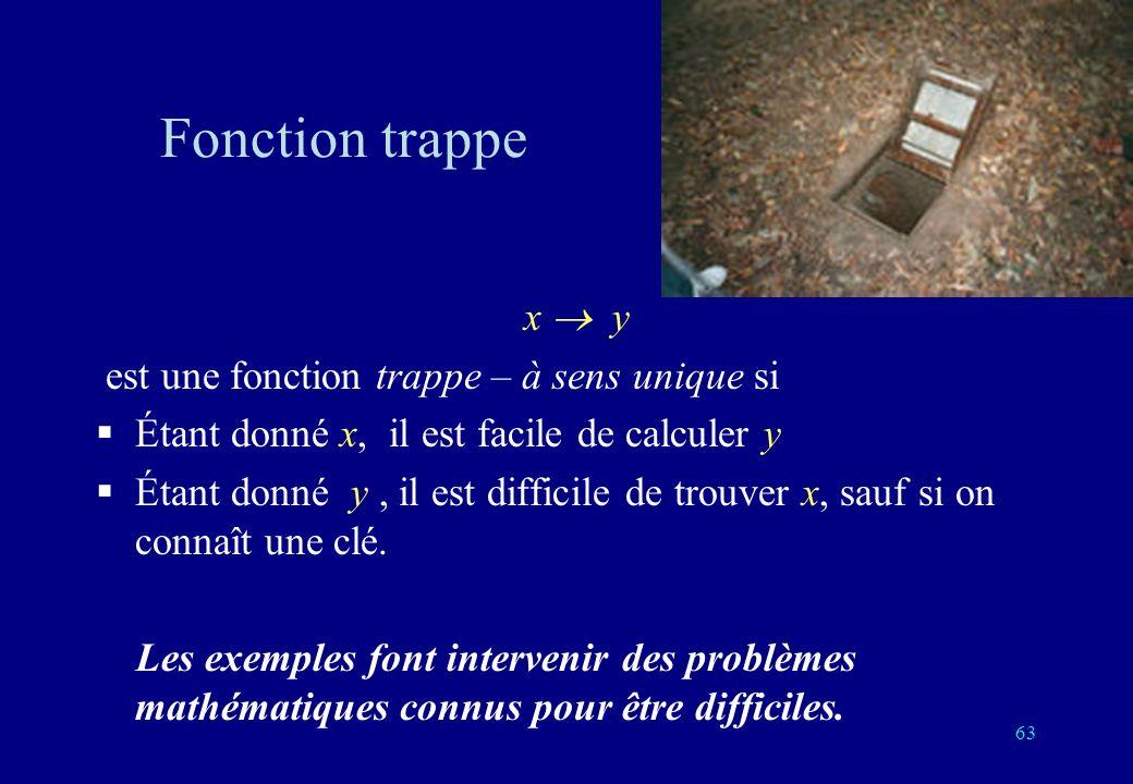 Fonction trappe x y est une fonction trappe – à sens unique si Étant donné x, il est facile de calculer y Étant donné y, il est difficile de trouver x, sauf si on connaît une clé.