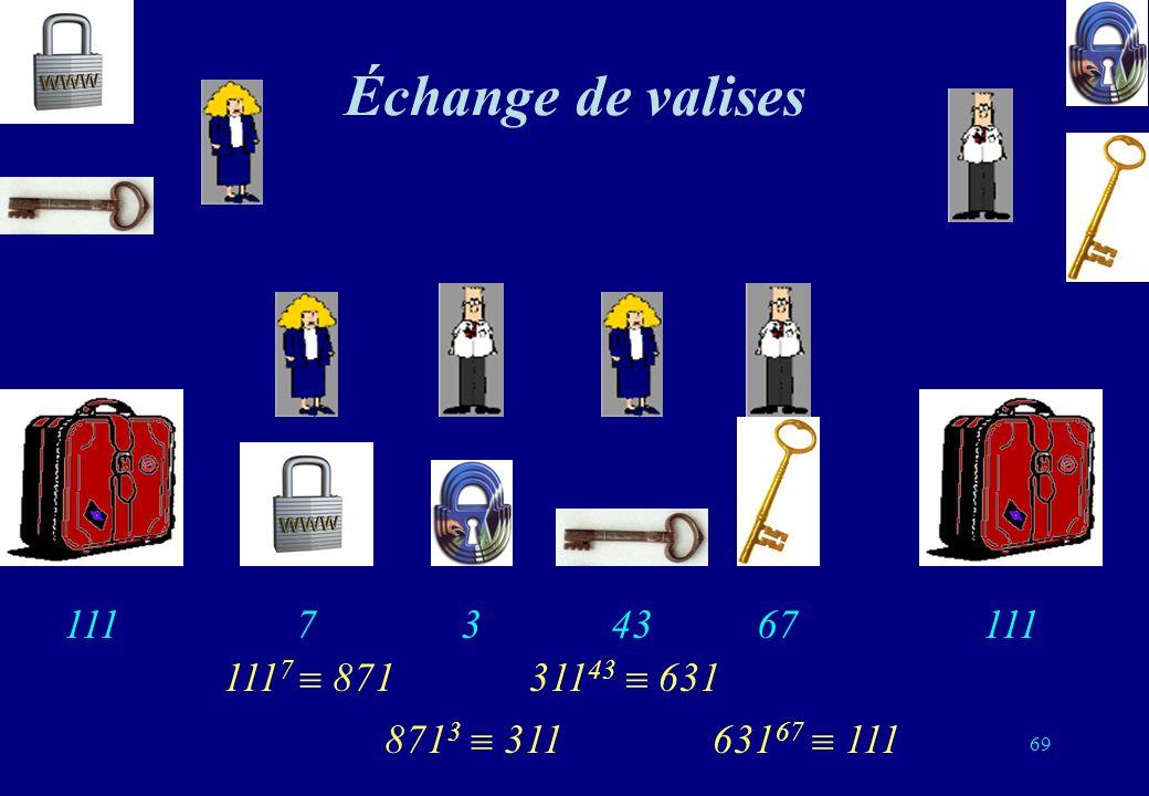Échange de valises 111 111 7 871 871 3 311 311 43 631 631 67 111 111 743 367 69