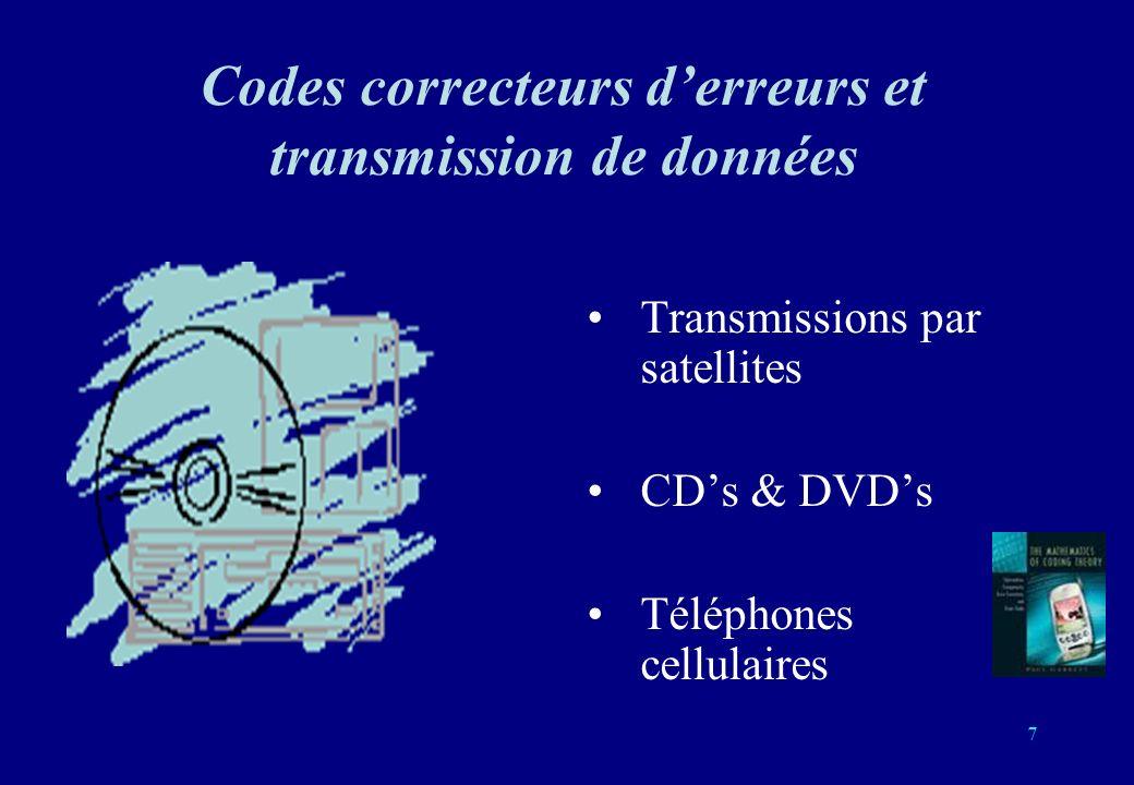 7 Codes correcteurs derreurs et transmission de données Transmissions par satellites CDs & DVDs Téléphones cellulaires