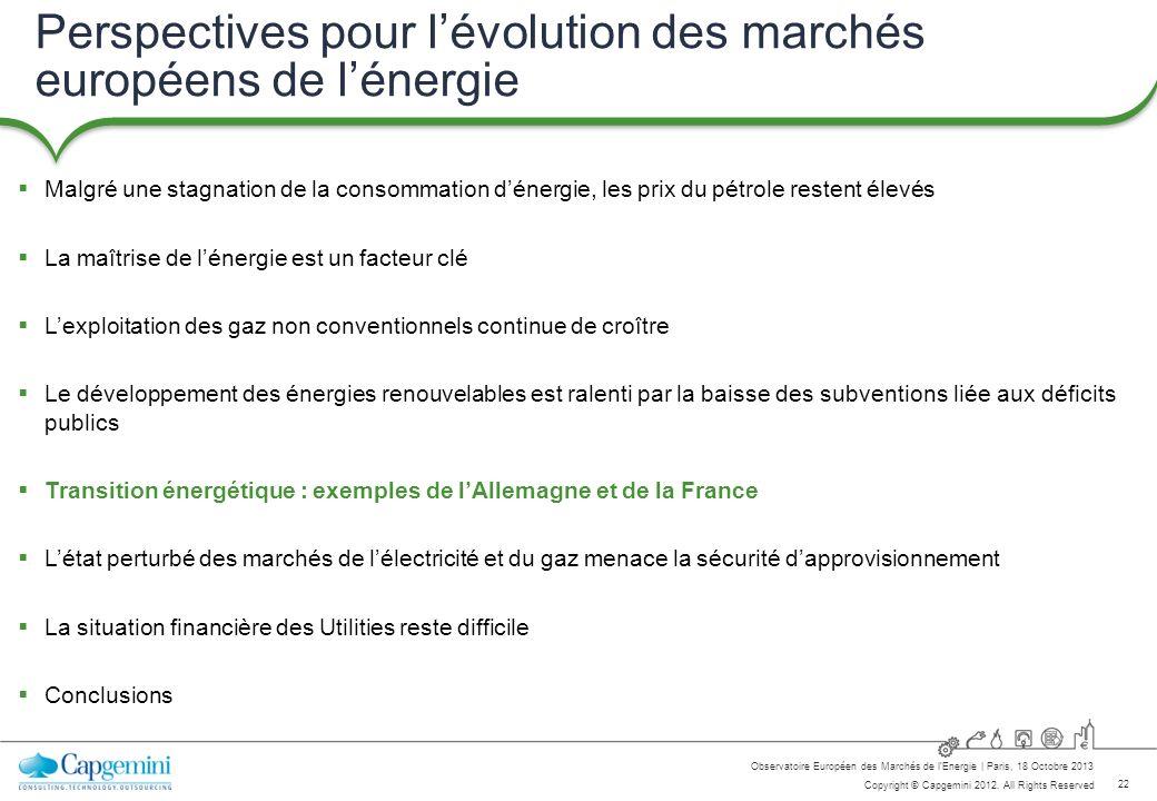 22 Copyright © Capgemini 2012. All Rights Reserved Observatoire Européen des Marchés de lEnergie   Paris, 18 Octobre 2013 Perspectives pour lévolution