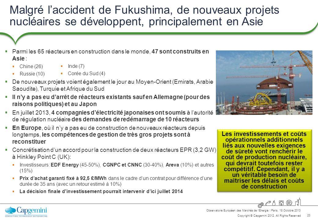 23 Copyright © Capgemini 2012. All Rights Reserved Observatoire Européen des Marchés de lEnergie   Paris, 18 Octobre 2013 Malgré laccident de Fukushim