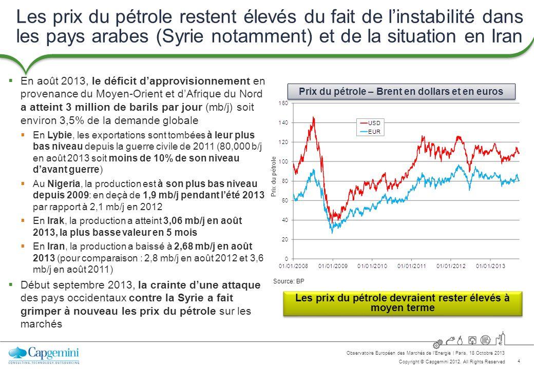 4 Copyright © Capgemini 2012. All Rights Reserved Observatoire Européen des Marchés de lEnergie   Paris, 18 Octobre 2013 Les prix du pétrole restent é