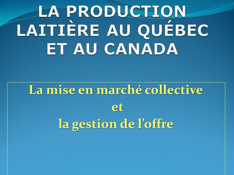 Plan conjoint (1980) des producteurs de lait du Québec Une agence de vente centralisée de tout le lait des fermes québécoises La Fédération des producteurs de lait est loffice qui administre le plan conjoint Toutes les provinces ont un office de mise en marché du lait 22